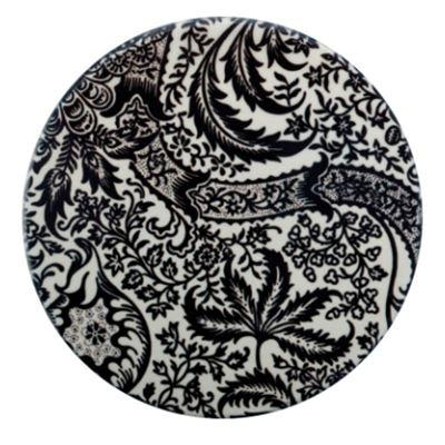 William Morris Ceramic Coaster Black Seaweed
