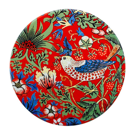William Morris Ceramic Coaster Strawberry Thief Red