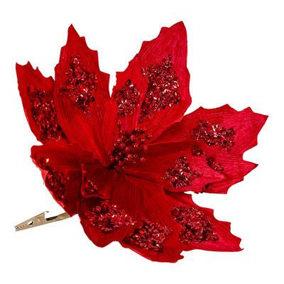 Fabric Red Large Poinsettia With Red Glitter