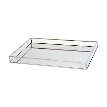 Pilbeam Silver Clear Rectangular Mirror Tray Large