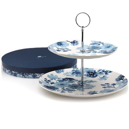 Blue Chinoiserie 2 Tier Cake Stand
