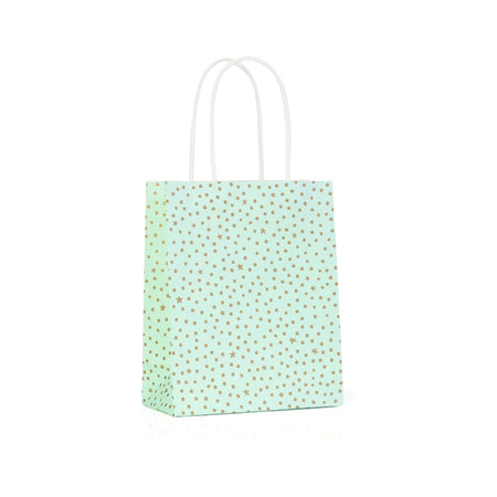 Gift Bag Starry Night Mint & Gold 41x30cm