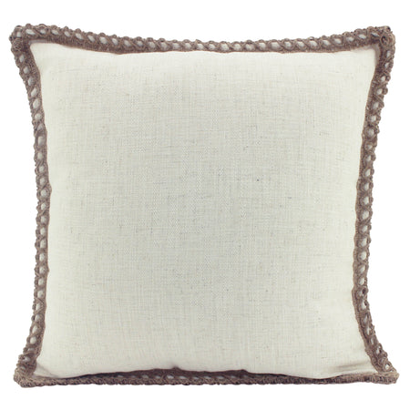 Linen Trim Cushion Beige Square