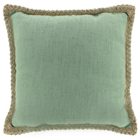Linen Trim Cushion Mist Square