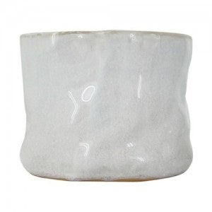 Crinkle White Planter Medium