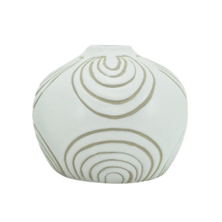Ludic Vessel With Pattern White Round