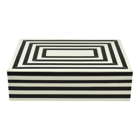 Crowley Resin Trinket Box Black and Ivory