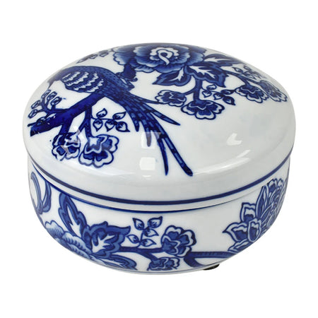 Zhen Ceramic Trinket Box Large White/Blue