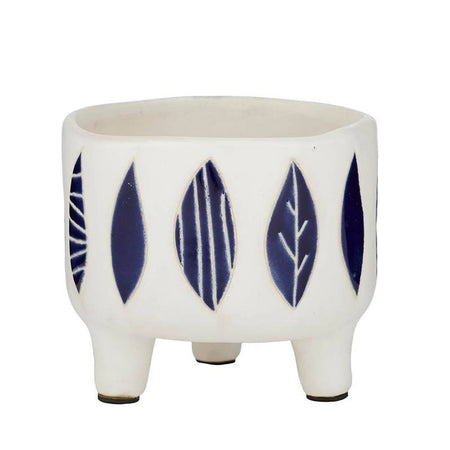 Hoja Ceramic Footed Pot White & Blue