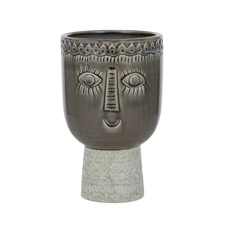 Maurice Ceramic Footed Pot Grey