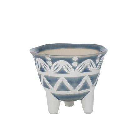 Chia Ceramic Pot Blue/White