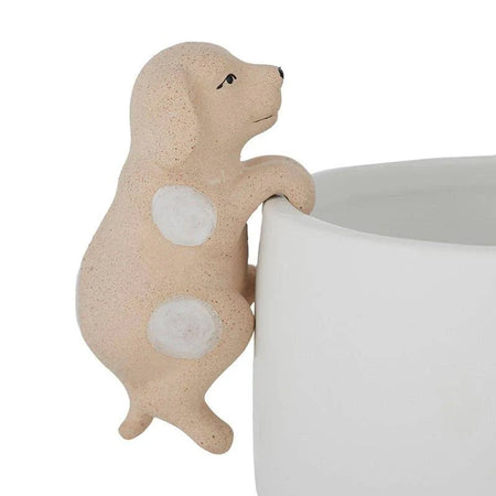 Dave Dog Ceramic Pot Hanger Natural/White