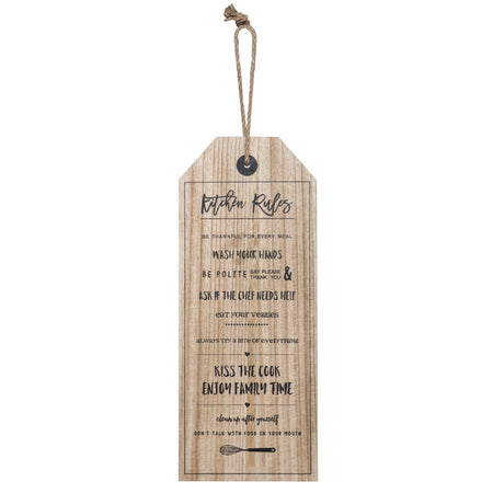 Kitchen Rules Wall Decor Natural & Black