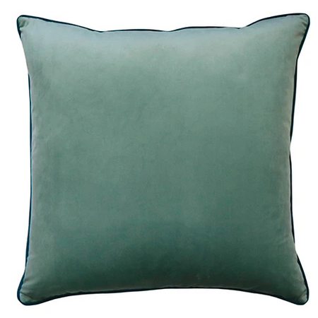 Clifton Seafoam Velvet Piped Cushion