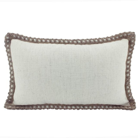 Linen Trim Cushion Beige Lumbar