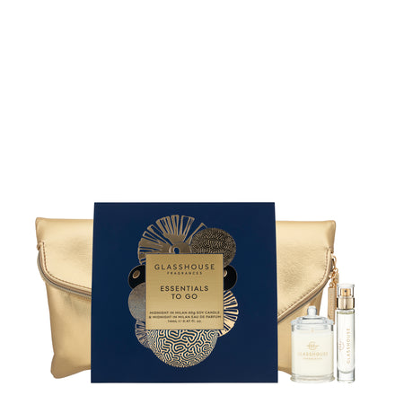 Glasshouse Fragrance Christmas Scent Essentials Gift Set (14ml EDP in Midnight in Milan & Midnight in Milan 60g Soy Candle)