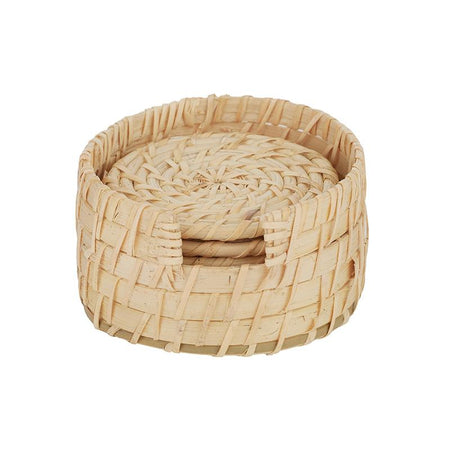 Borocay Set Of 6 Rattan Coasters With Holder
