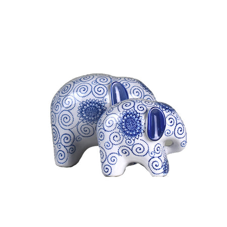 Elephant Blue & White 15cm