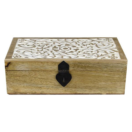 Carved Floral Trinket Box Medium
