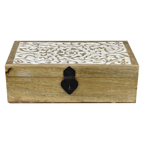 Carved Floral Trinket Box  - 26.5cm L