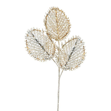 Champagne Skeleton Leaf Spray