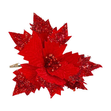Fabric Clip On Poinsettia Red Sequin