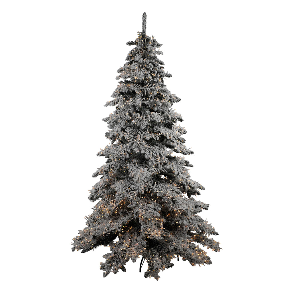 Flocked Pre Lit Snow Tree Green & White 215cm