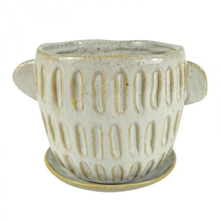 Earle Ceramic Pot & Saucer Small Natural