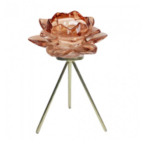 Rose Tealight On Stand Bronze