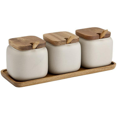 Essentials Stone Canister & Spoon Counter Set