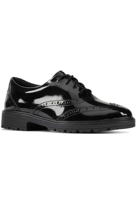 Clarks Loxham Brogue Youth black patent