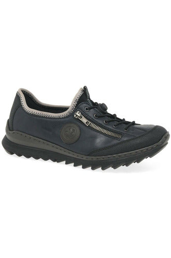 ladies rieker navy leather sole grip lace up shoe trainer sport casual zip detail