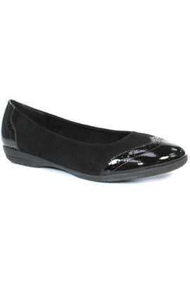 Ladies lunar slip on black summer collection patent toe