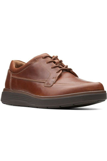 mens clarks lace up dark tan smart everyday casual shoe thick sole