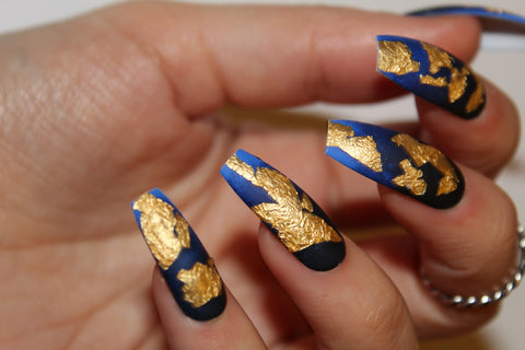 Ombre blue with Gold Leaf
