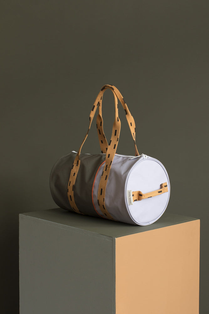Load image into Gallery viewer, Sticky Lemon laukku -duffle bag moss green + lavender