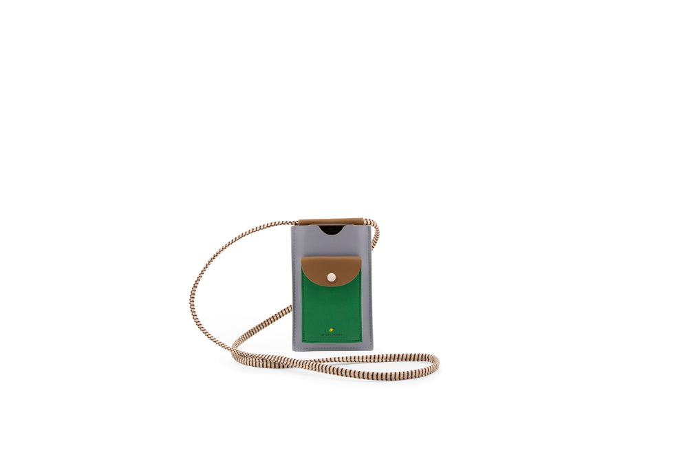 Load image into Gallery viewer, Sticky Lemon -phone pouch | XL | steel blue + brassy green + apple green