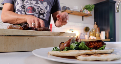 Sausages and Homemade Burgers with Simple Flatbreads