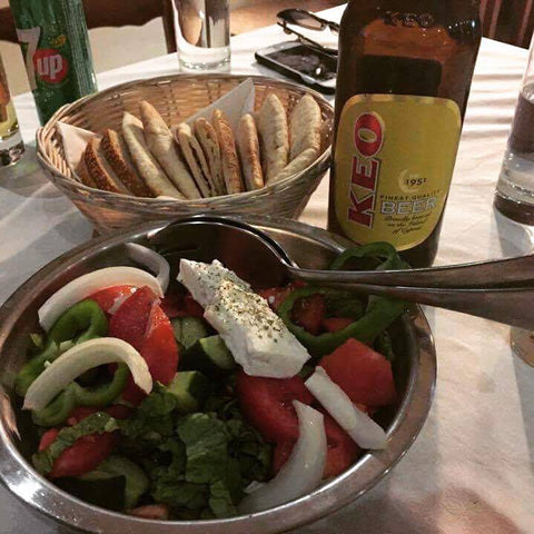 Cyprus BBQ Greek Salad and an ice cold Keo Beer