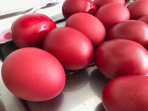 Traditional Greek Orthodox red eggs for the Easter Celebrations