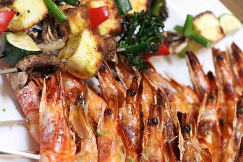 Chilli & Lime King Prawn Skewers with Vegetable Skewers