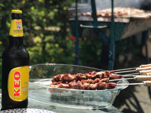 Keo Beer and a Souvlaki Kebab