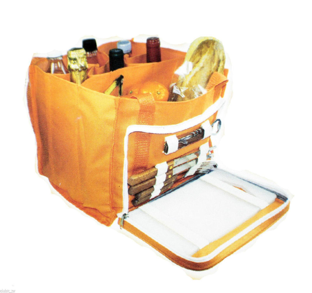 BBQ Accessory - Picnic Set Orange Open Hamper Carry Bag With Various Accessories