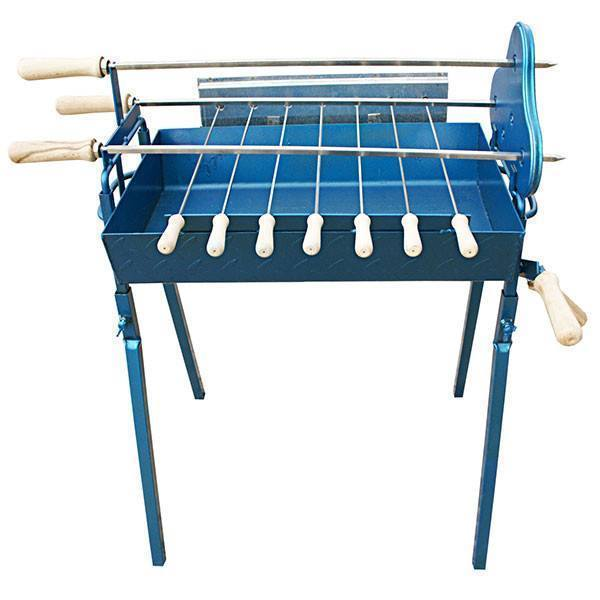 Charcoal BBQ - BBQ Set - Mini Traditional Greek Cypriot Foukou Charcoal Cyprus BBQ - Small Blue