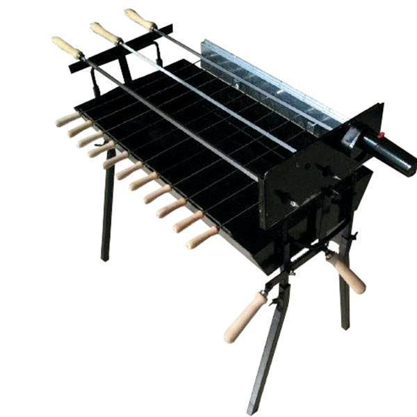 Charcoal BBQ - BBQ Set - Modern Greek Cypriot Foukou Rotisserie Charcoal BBQ - Extra Wide Black