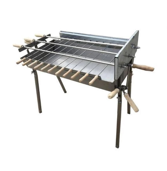 Charcoal BBQ - BBQ Set - Modern Greek Cypriot Foukou Rotisserie Charcoal BBQ - Extra Wide Stainless Steel Barbecue