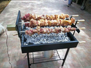 BBQ Set - X5 Greek Cypriot Foukou Rotisserie Charcoal Barbecue - Black Charcoal BBQ Cyprus BBQ