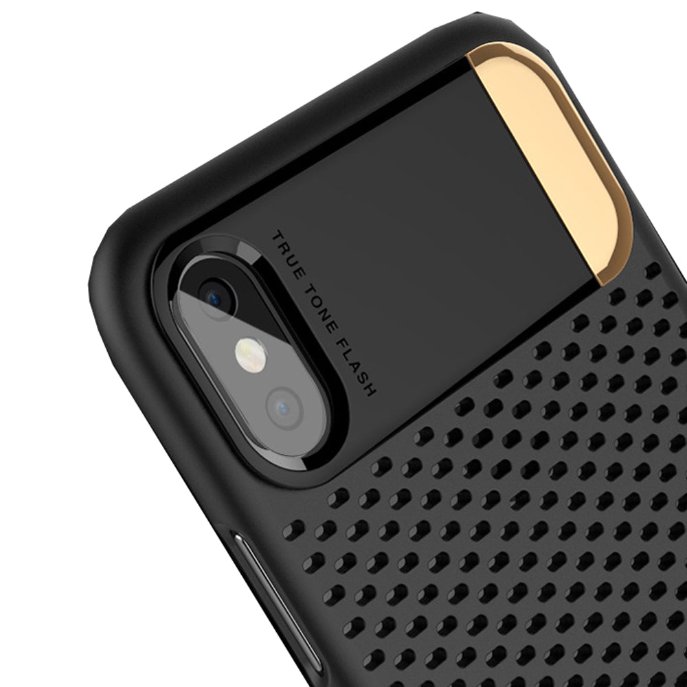 Heat Radiating Hollow Mesh Back Case Cover with inbuilt Metal Stand for Apple iPhone X - Black - Mobizang