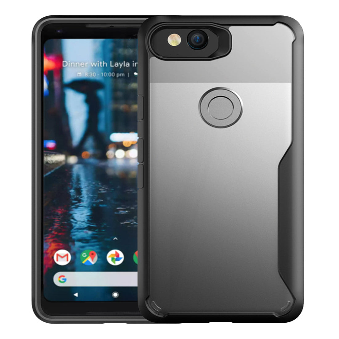 Shock Proof Armor Acrylic Transparent Back Case Cover for Google PIXEL 2 - Black - Mobizang