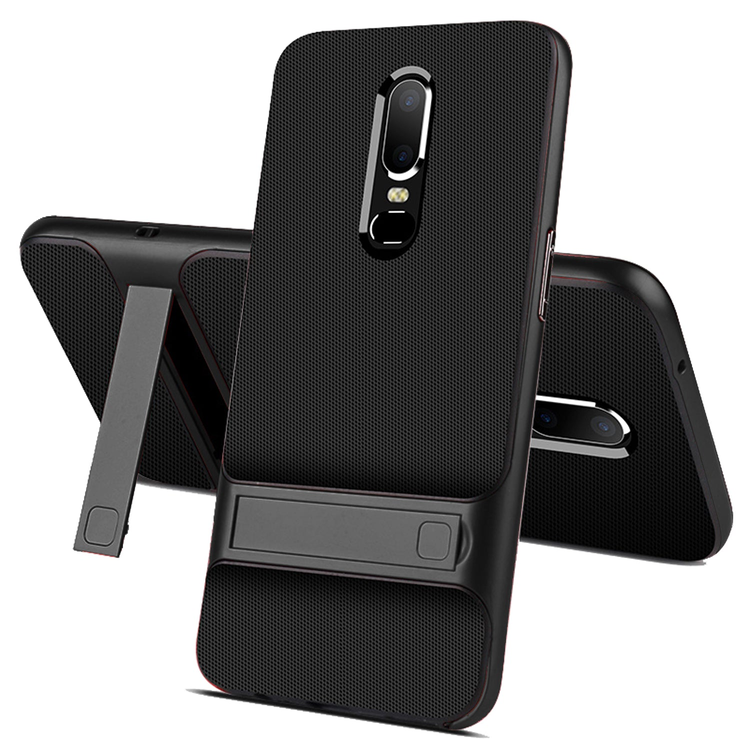 Shock Proof Stand Back Case Cover for Oneplus 6 - Black - Mobizang